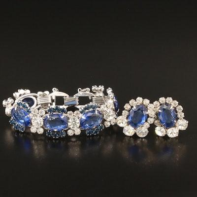 Vintage Juliana Rhinestone Bracelet and Clip Earrings