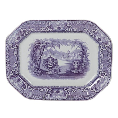 "Podmore Walker ""Washington Vase"" Transferware Pearl Stoneware Platter, 1834–1856"