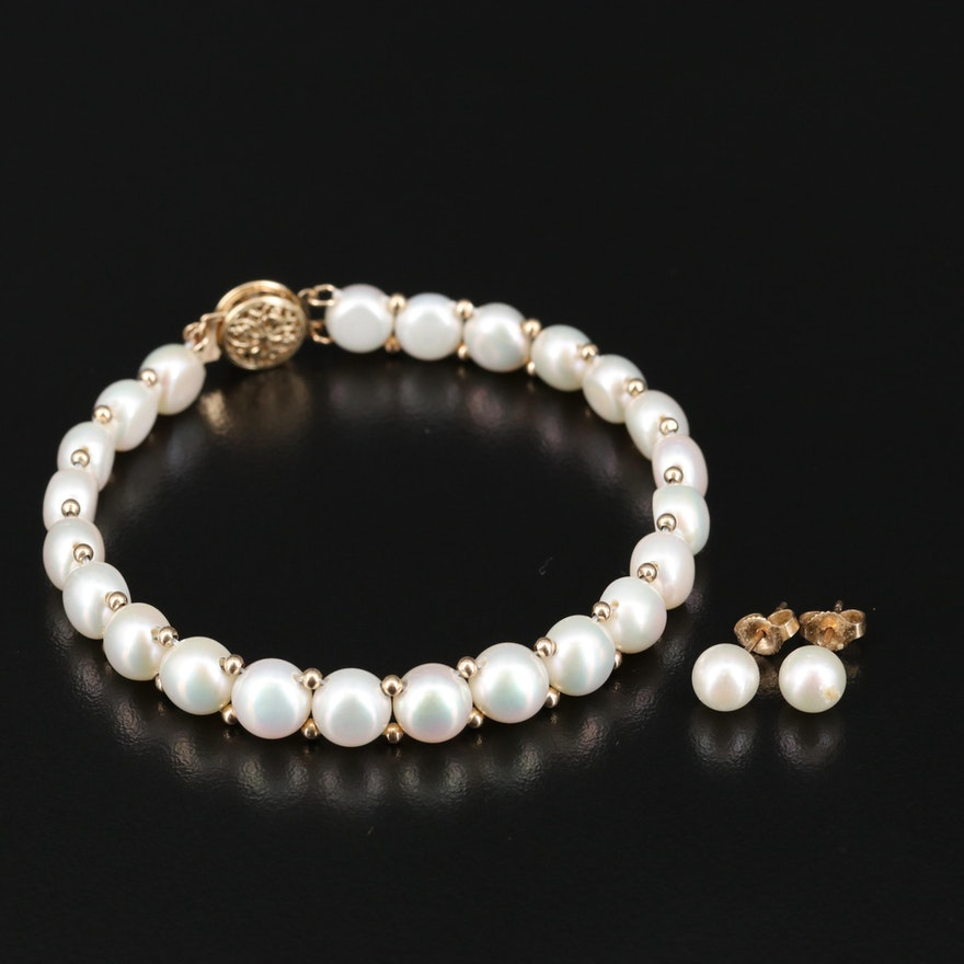 14K Pearl Bracelet and Earring Set