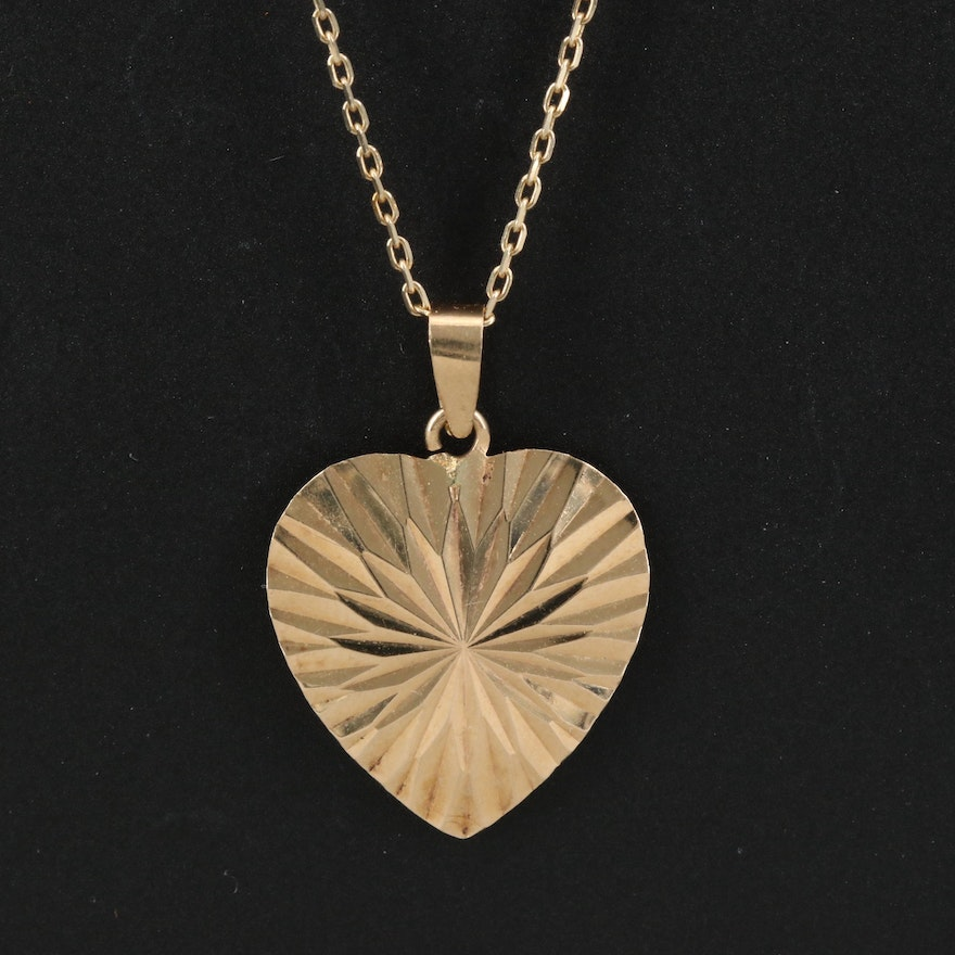 14K Heart Necklace with Sterling Accent