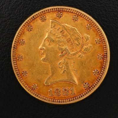 1881 Liberty Head $10 Gold Eagle