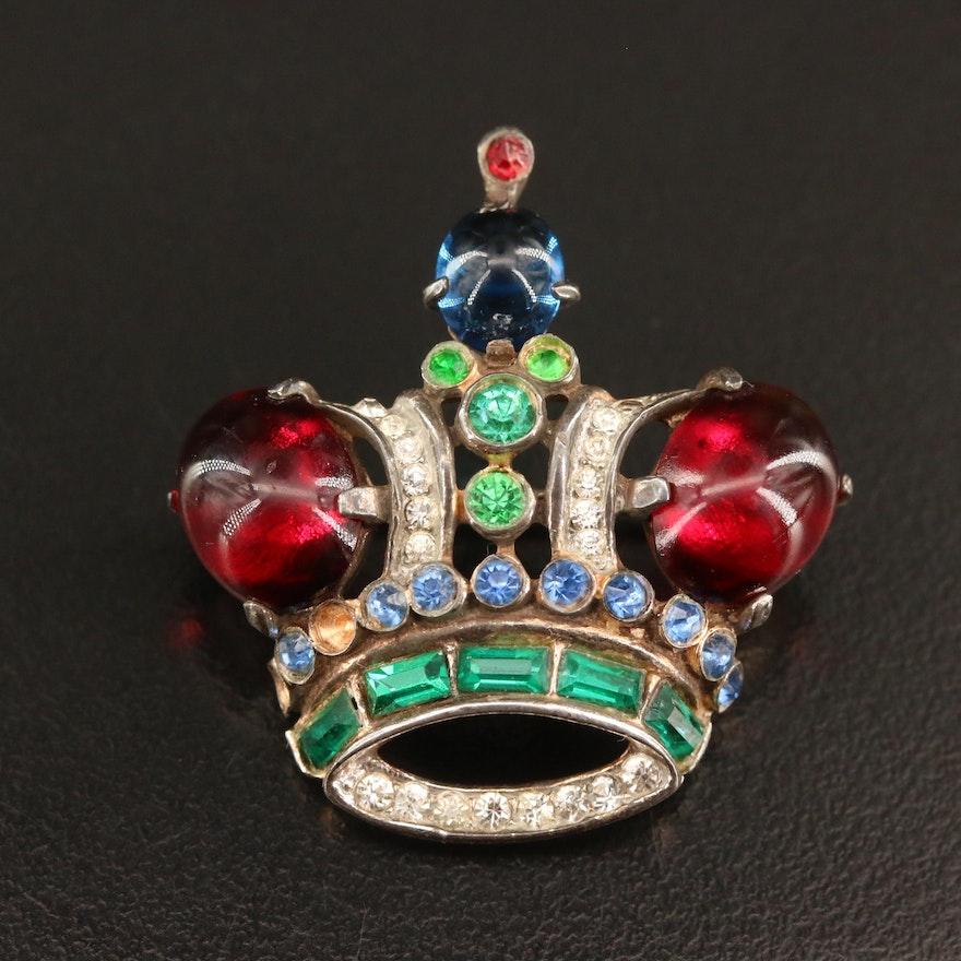 Vintage 1944 Crown Trifari Alfred Philippe Rhinestone Crown Brooch