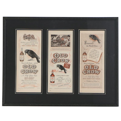 Offset Lithograph Advertisements for Old Crow Bourbon, Early 20th Century
