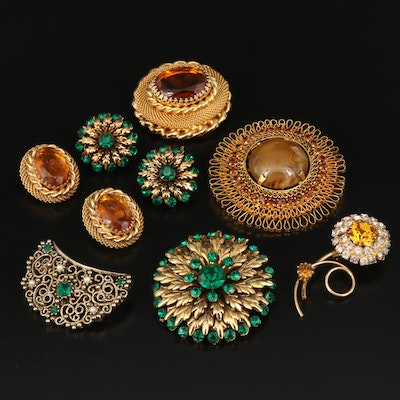 Vintage Rhinestone Brooches and Earrings