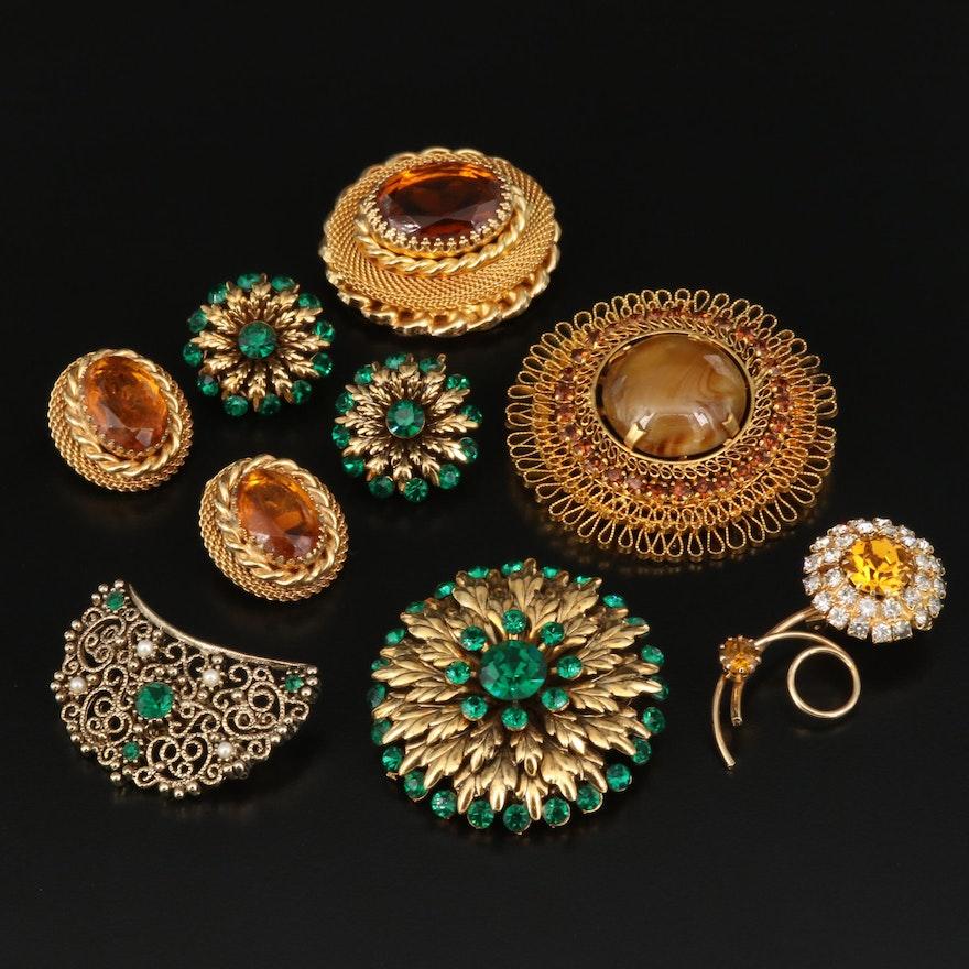 Vintage Rhinestone Brooches and Earrings