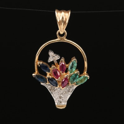 14K Flower Basket Pendant with Ruby, Emerald, Sapphire and Diamond
