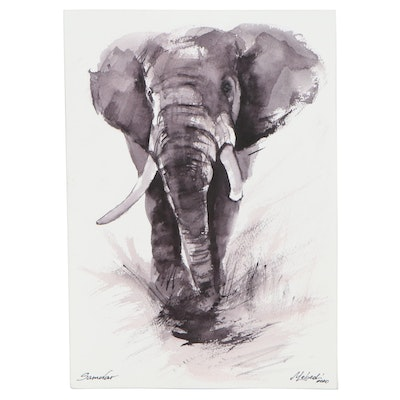 Marina Lebed Watercolor Painting of Elephant, 2020