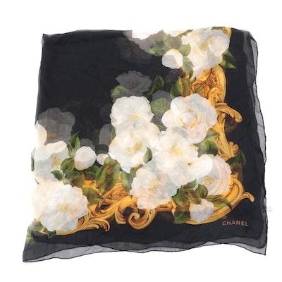 Chanel Camellia Frame Print Scarf Shawl in Silk Chiffon