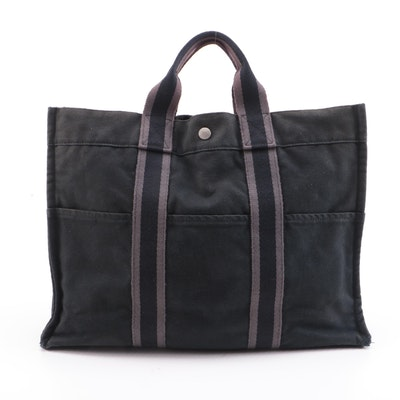 Hermès Fourre Tout MM Tote in Black/Grey Cotton Canvas