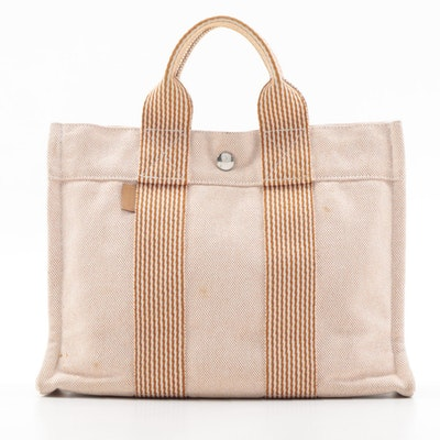 Hermès Fourre Tout MM Tote in Rust Orange and Off-White Canvas