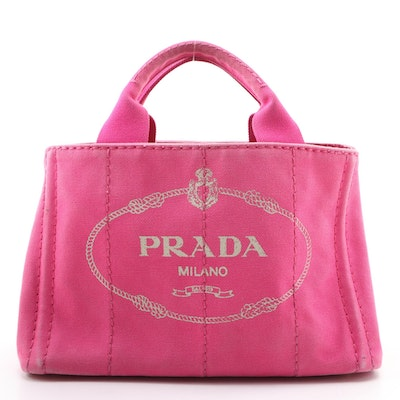 Prada Canapa Logo Tote PM in Pink Canvas