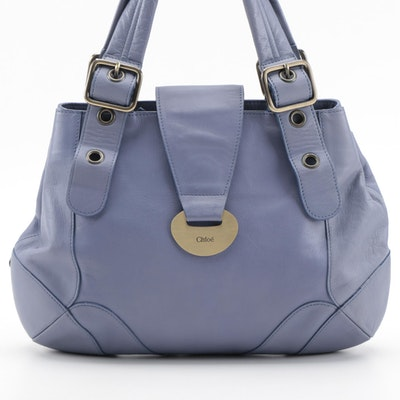 Chloè Buckle Hobo Bag in Stone Blue Leather