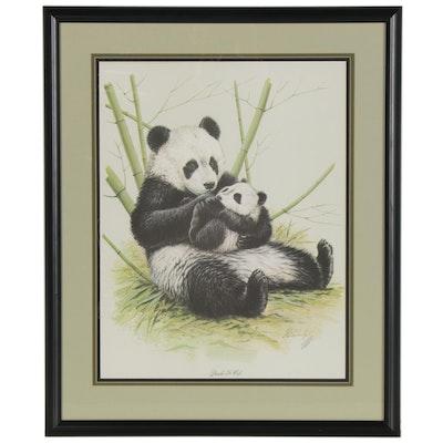 "Guy Coheleach Offset Lithograph ""Panda & Cub"""