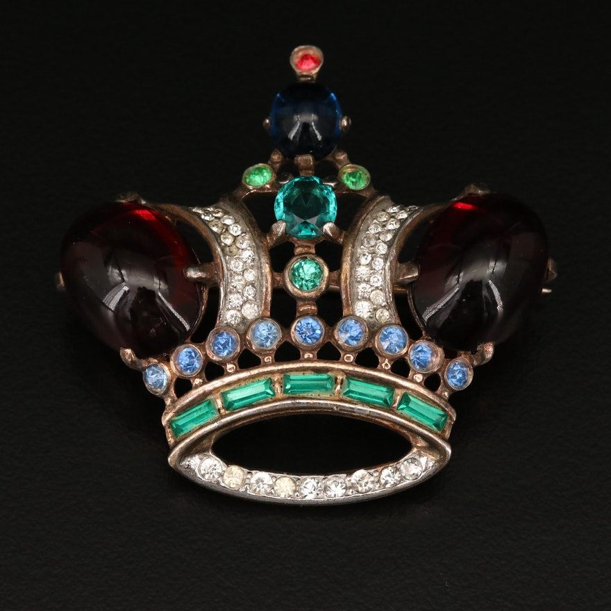1944 Alfred Philippe for Crown Trifari Rhinestone Coronation Crown Brooch
