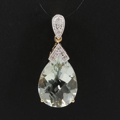 14K Prasiolite and Diamond Teardrop Pendant