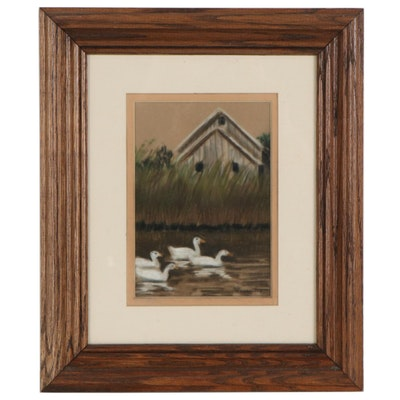 Gouache Painting of Ducks on the Pond, Early 20th Century