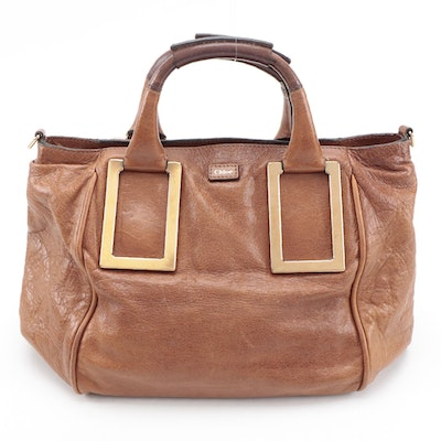Chloé Ethel Cognac Brown Grained Leather Two-Way Bag