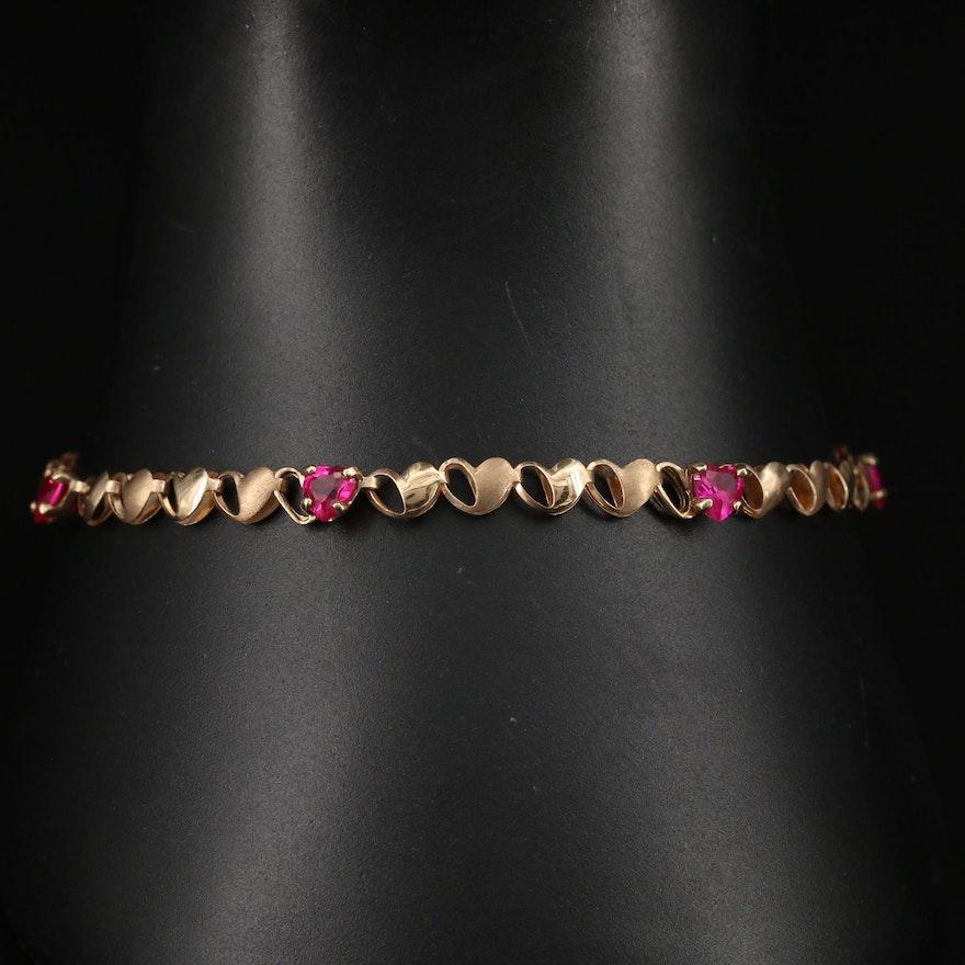 10K Ruby Heart Themed Bracelet