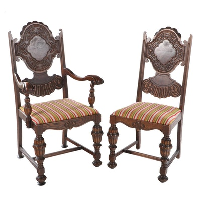 Two J.D. Bassett Jacobean Style Oak and Figured Walnut Dining Chairs