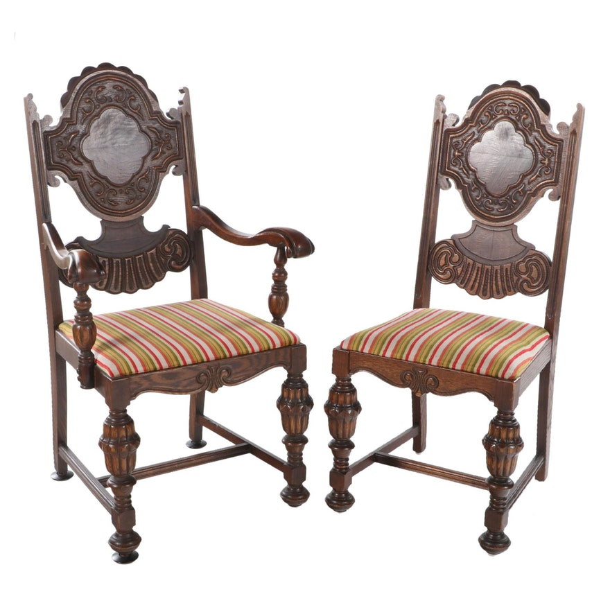 Two J.D. Bassett Jacobean Style Oak and Figured Walnut Dining Chairs