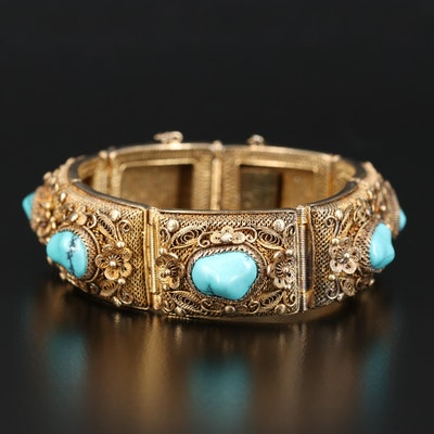 Sterling Silver Turquoise Mesh Panel Bracelet with Filigree