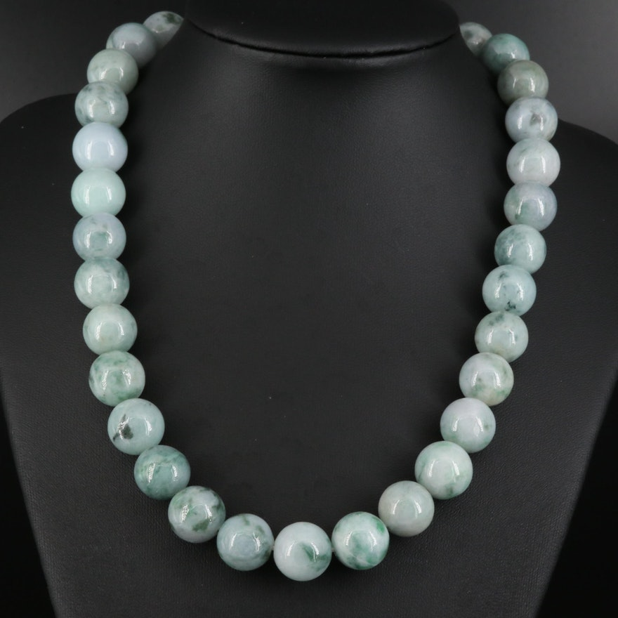 Jadeite Beaded Necklace with Sterling Clasp