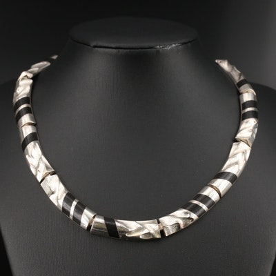 Circa 1988 Björn Weckström for Lapponia Sterling Wood Inlay Necklace