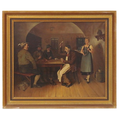 August Baumgartner Oil Painting of Bavarian Card Players, Early 20th Century