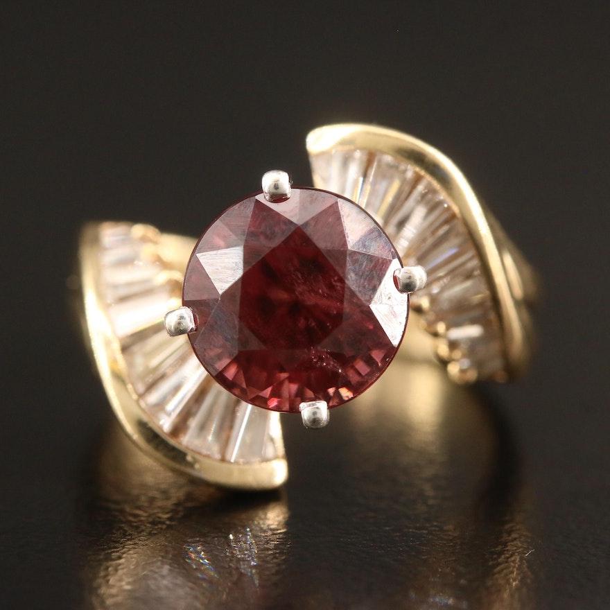 14K Zircon and Diamond Bypass Ring