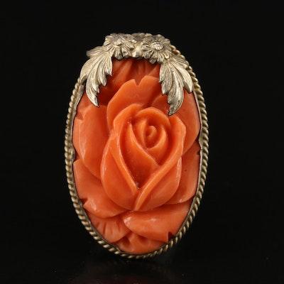Vintage Sterling Floral Carved Coral Dress Clip