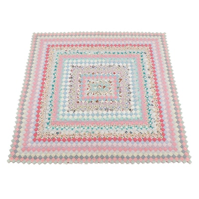 """Handcrafted """"Postage Stamp"""" Pieced Quilt, circa 1950s"""