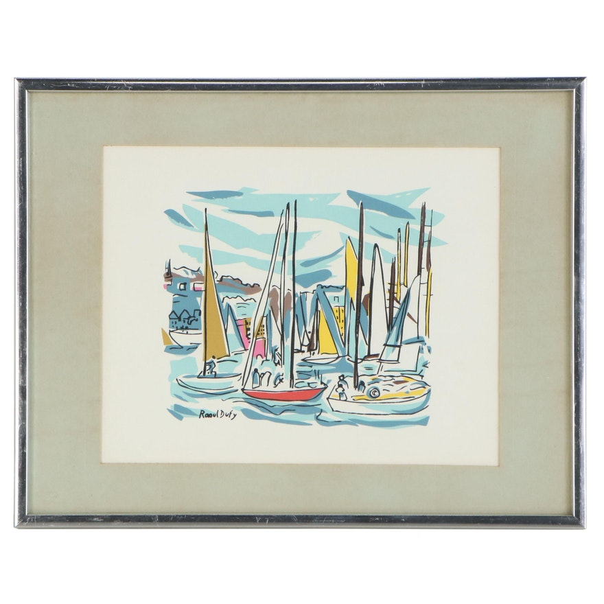 Serigraph after Raoul Dufy of Sailboats, Late 20th Century
