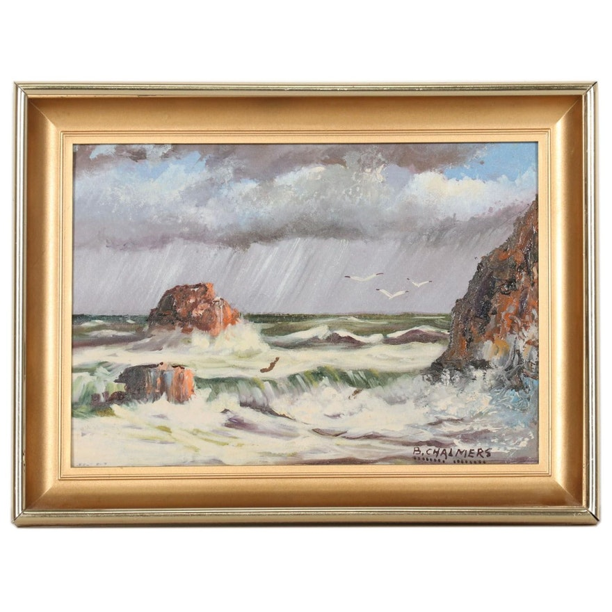 Burl Chalmers Oil Painting of Stormy Seascape