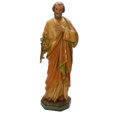 Hand-Painted Chalkware Sculpture of St. Joseph Holding Lilies