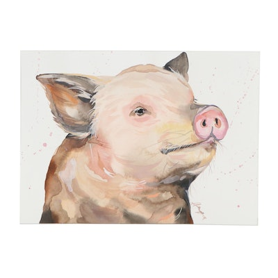 "Anne ""Angor"" Gorywine Watercolor Painting of Pig, 2020"