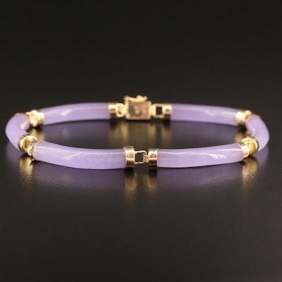 Asian 14K Jadeite Bracelet with Good Fortune Clasp