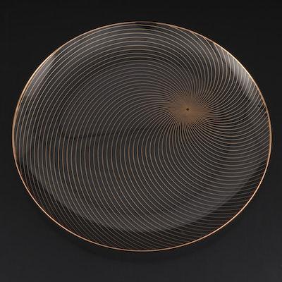 Mid-Century Modern Gilded Swirl Glass Platter