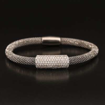 Sterling Cubic Zirconia Beaded Bracelet
