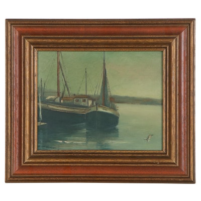 Nautical Oil Painting of Docked Sailboats, Mid-20th Century