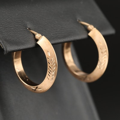 10K Diamond Cut Knife Edge Hoop Earrings