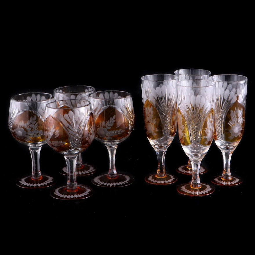 Bohemian Style Cut to Clear Amber Crystal Water and Wine Glasses