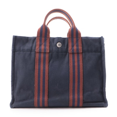 Hermès Fourre Tout PM Tote in Navy/Rust Cotton Canvas