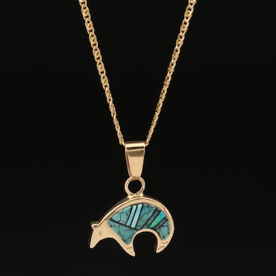 14K Turquoise and Opal Reversible Spirit Bear Pendant Necklace