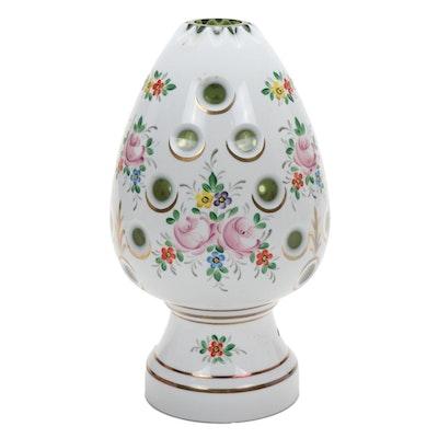 Bohemian Style Enameled Glass Egg Shape Boudoir Lamp, Late 20th Century