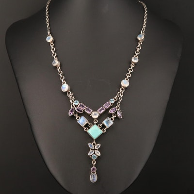 Nicky Butler Sterling Multi-Gemstone Chevron Drop Necklace