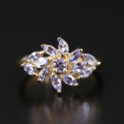 14K Tanzanite Cluster Ring