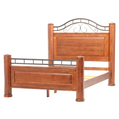 Furniture Fair Walnut-Stained Wood and Metal Queen Size Bed