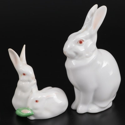 Herend Hand-Painted White Rabbit Porcelain Figurines