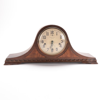 New Haven Clock Co. Reverie Walnut 8 Day Tambour Clock, Early 20th Century