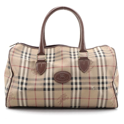 """Modified Burberry """"Haymarket Check"""" Coated Canvas and Leather Duffle Handbag"""